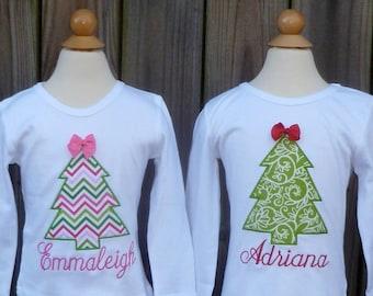 Christmas Tree Applique Shirt or Onesie Boy or Girl