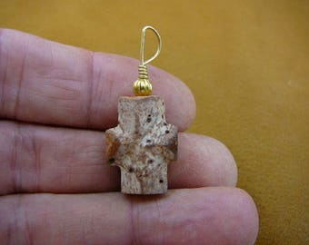 """7/8"""" large inch Fairy Stone cross gold wired pendant jewelry necklace staurolite crystal religious Christian CR500-77"""