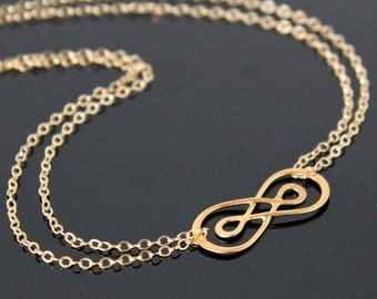 Double INFINITY Necklace, Gold Infinity Necklace, Love Necklace, Bridesmaids Necklace.