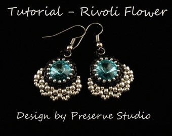 Rivoli Beaded Earrings, Rivoli Pattern, Beading Tutorial, Beaded Earring Tutorial, Beadweaving Tutorial, Rivoli Earrings, Crystal Earrings