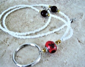 White and Red Beaded Necklace Lanyard for Glasses, One Of A Kind, by Eyewearglamour