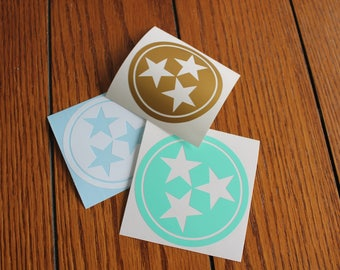 Tennessee Solid Tri-Star Sticker, Car Decal, Laptop Decal