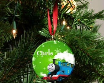 Personalized Holiday Thomas the Engine Tree Ornament -Green