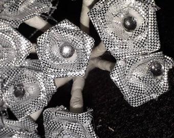 set of 12 flowers in silver rhinestone fabric 15 mm 10 cm in length