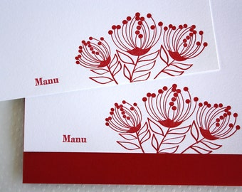 Personalized Letterpress Hawaii Lehua Blossom Stationery Ruby Red