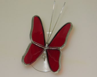 Stained Glass Butterfly Suncatcher with Red Wings (BUT001)