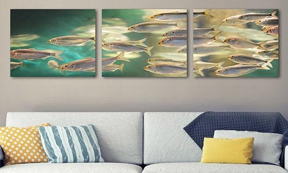 Fischschwarm Triptychon Wandkunst 3 Stück Fisch Wand Kunst