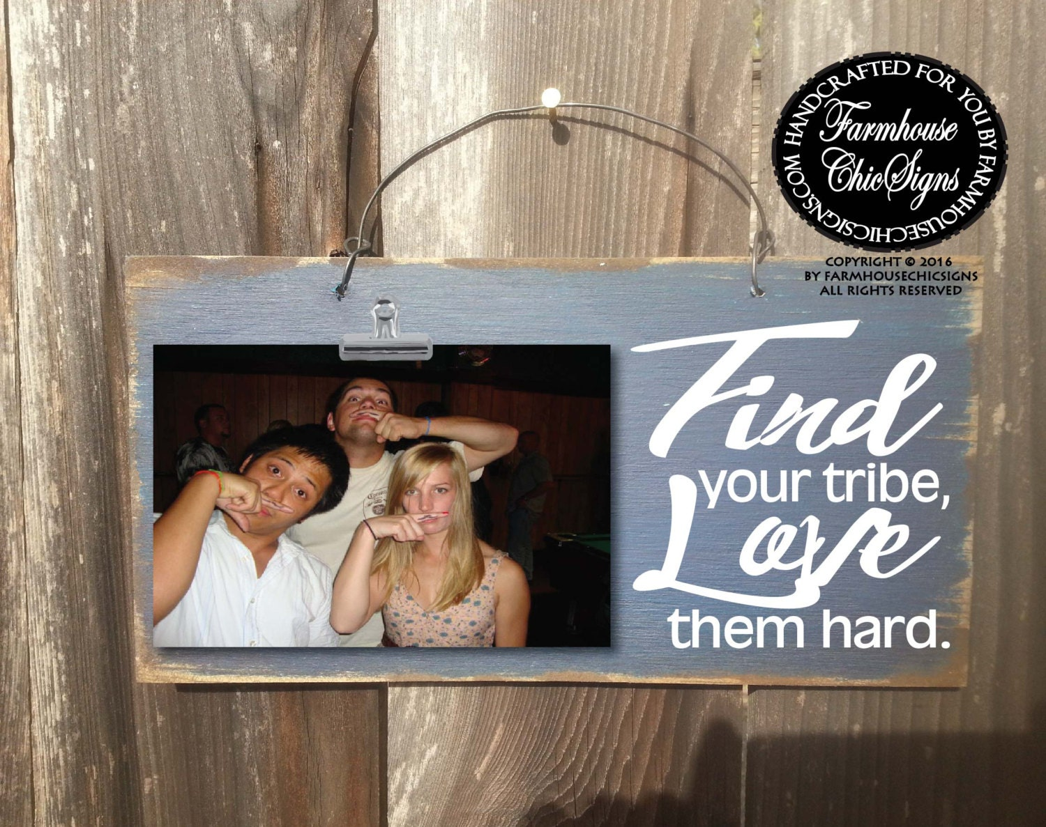 find your tribe love them hard tribe photo holder gift for