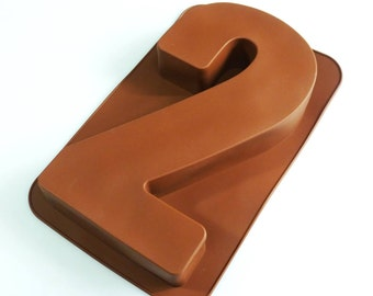 """Large Number TWO (2) Silicone Bakeware Mould for Novelty Birthday Cake Pan(like tin) - 12"""""""