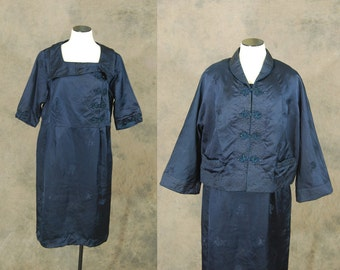 vintage 50s Silk Dress and Jacket - 1950s Navy Blue Asian Styled  Wiggle Dress Suit - 1950s Cocktail Dress and Coat Sz XL XXL