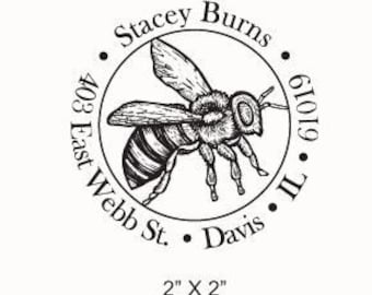Custom Honey Bee Illustration Return Address Rubber Stamp AD94