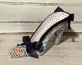 Paper Shoe, Blue Floral High Heel Paper Keepsake Shoe, Art Sculpture, Centerpiece, Decoration, Original Design