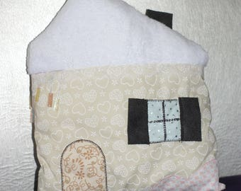 House in snow, icicles, hearts cushion