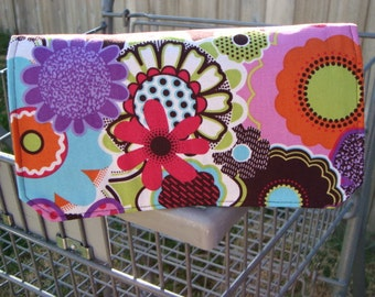 Coupon Organizer, Budget Organizer Holder, Coupon Bag, Coupon Wallet, Cash Budget - Attaches to Your Shopping Cart - Retro Floral