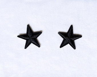 2x black stars military pinup Rockabilly fashion custom Iron On Embroidered Patch Applique Star rock tattoo