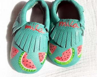 Watermelon Baby Moccasins