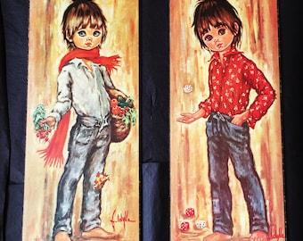 Set of 2 Vintage 60s/70s Jloylle - Big Eye Boy Wooden Board Cork Print - Retro - Kitsch - Child Wall Hanging