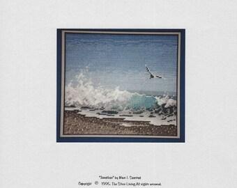 The Silver Lining - Jonathan - Seagull - Ocean - Seashore -  Counted Cross Stitch Chart - Designer Marc Saastad