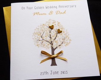 Golden / 50th  wedding Anniversary personalised card