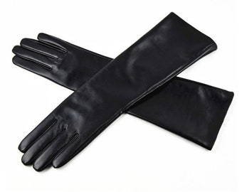 "42cm (17"") Long Genuine Leather Opera Length Party plain Evening Elbow Gloves"