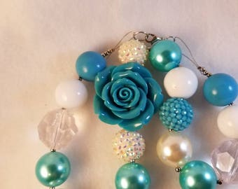 Teal Rose chunky necklace