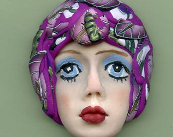 One of a Kind Polymer Clay  Detailed  Art Doll Face with hat Cab CNF 1