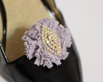 Shoes clips - lilac puff pompom with crystal center