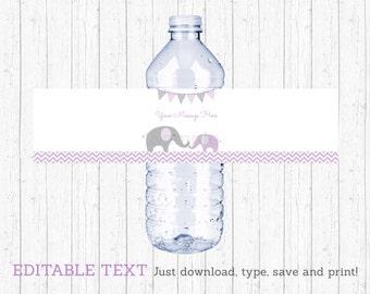 Cute Elephant Water Bottle Labels / Elephant Baby Shower / Chevron Pattern / Purple & Grey / Printable INSTANT DOWNLOAD Editable PDF A199