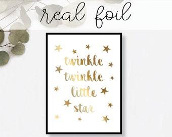 Twinkle Twinkle Little Star Real Gold Foil Print - Art Print, Gold Foil Art Print, Gold Home Decor, Gold Wall Art, Gold Print, nursery