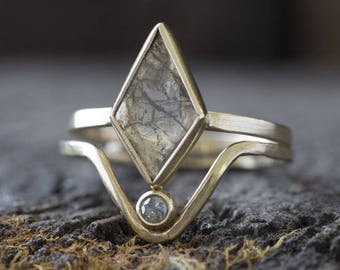 One of a Kind Natural Geometric Diamond Slice Ring