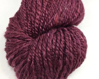 "Handspun Yarn Worsted Polwarth Silk ""Merlot"" 160 yds."