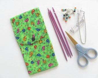 Knitting Needles Case, Crochet Hooks Holder, Hooks Case, Notions Pouch, needles storage case, Gift for Knitters - Ladybugs