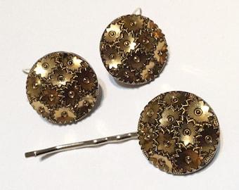 Vintage Art Deco Glass Button Earrings & Hair Slide Set Wedding Prom Clip Grip Bobby Pin Comb