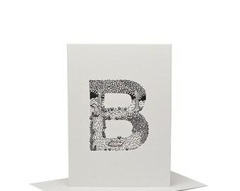 B for Beaver - Letterpress Print