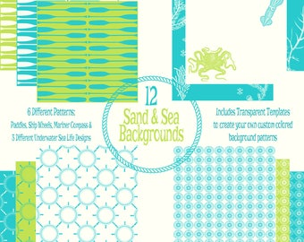 Sand & Sea Background Papers Collection and Design Templates - Backgrounds of Surf, Sand, Ocean, and Beach Designs -300dpi Instant Download
