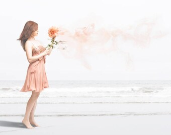 "Girl on the Beach 13x19"" Fine Art Print, Dahlia, Peach, Pink, Flower, Fantasy, Dreamy Surreal Picture, Ocean, Matte Paper // ""Wanda"""