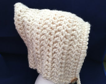 Warm hand crocheted pixie hood for adults