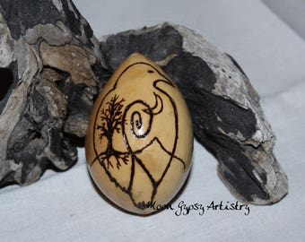 Crow Raven Spirit Totem Egg Gourd-Pyrography-Woodburning-Handmade Art