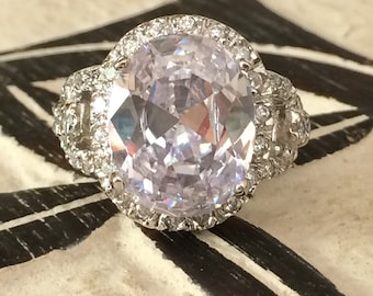 Silver and CZ dress ring size 7