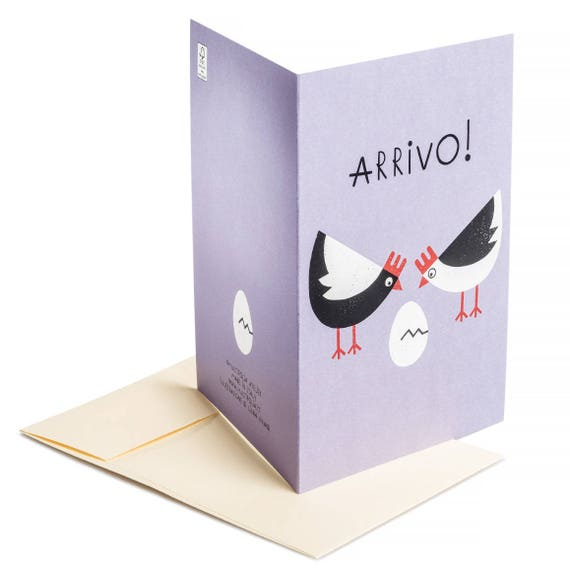 ARRIVO! Baby shower card. New baby card. Baby on the way. Pregnancy announcement. Arrivo!