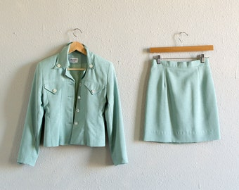 80s Mint Skirt Suit Set / Fits up to an Extra Small
