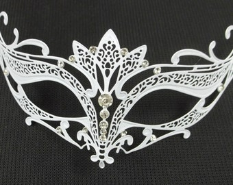 Tiara Masquerade Mardi Gras Metal Filigree Mask in White with Sparkling Clear Crystals