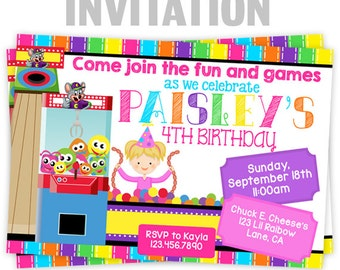 828-02: DIY - Arcade Fun And Games 7 Party Invitation Or Thank You Card