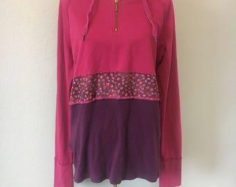 Upcycled clothing, womens large hoodie, upcycled womens hoodie, floral, cotton blend, upcycled womens shirt