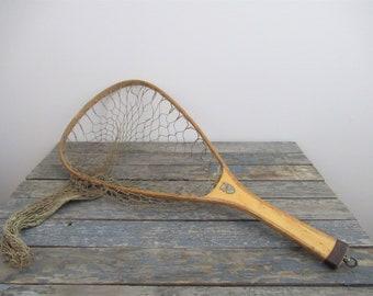 Fishing Net, E.D. Cumings Wooden Fishing Net, Fly Fishing, Trout Net, Nautical Decor, Beach Decor, Cabin Decor
