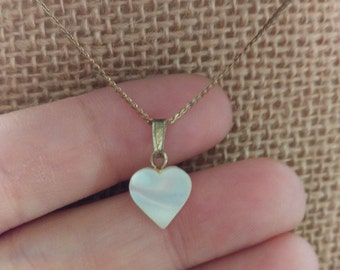 Petite Vintage 1970's Mother Of Pearl Heart Pendant on Serpentine Chain