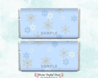 Blue Silver Snowflakes Frozen Winter Wonderland  | Candy Bar Wrappers Full Size | Digital Instant Download