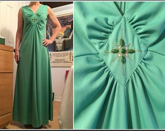 Vintage 1970s Green Maxi Dress with Diamond Beaded Chest Detail Size 6
