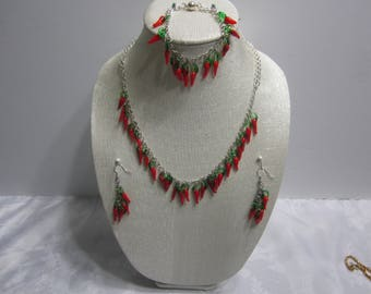 Handmade red pepper Necklace,earrings, bracelet set