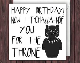 Black panther card etsy tchalla nge black panther birthday card funny greetings card geek bookmarktalkfo Images